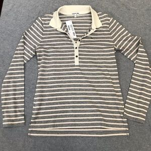 Lacoste long sleeve V-neck collared striped shirt